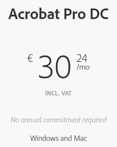 Acrobat Pricing